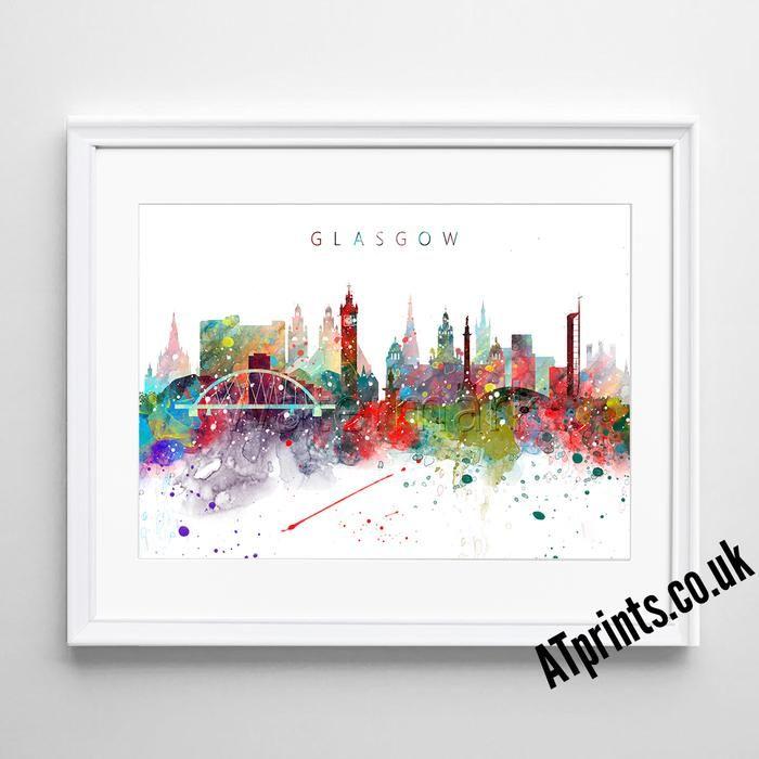 Glasgow Skyline - Watercolour Art Print
