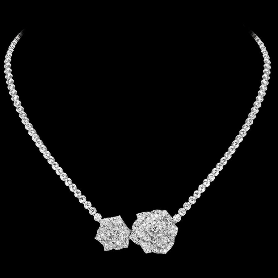 White gold diamond ring piaget luxury jewellery g34ut300 - Discover Piaget Rose Necklace In White Gold Diamond On Piaget Us Online Jewelry Store