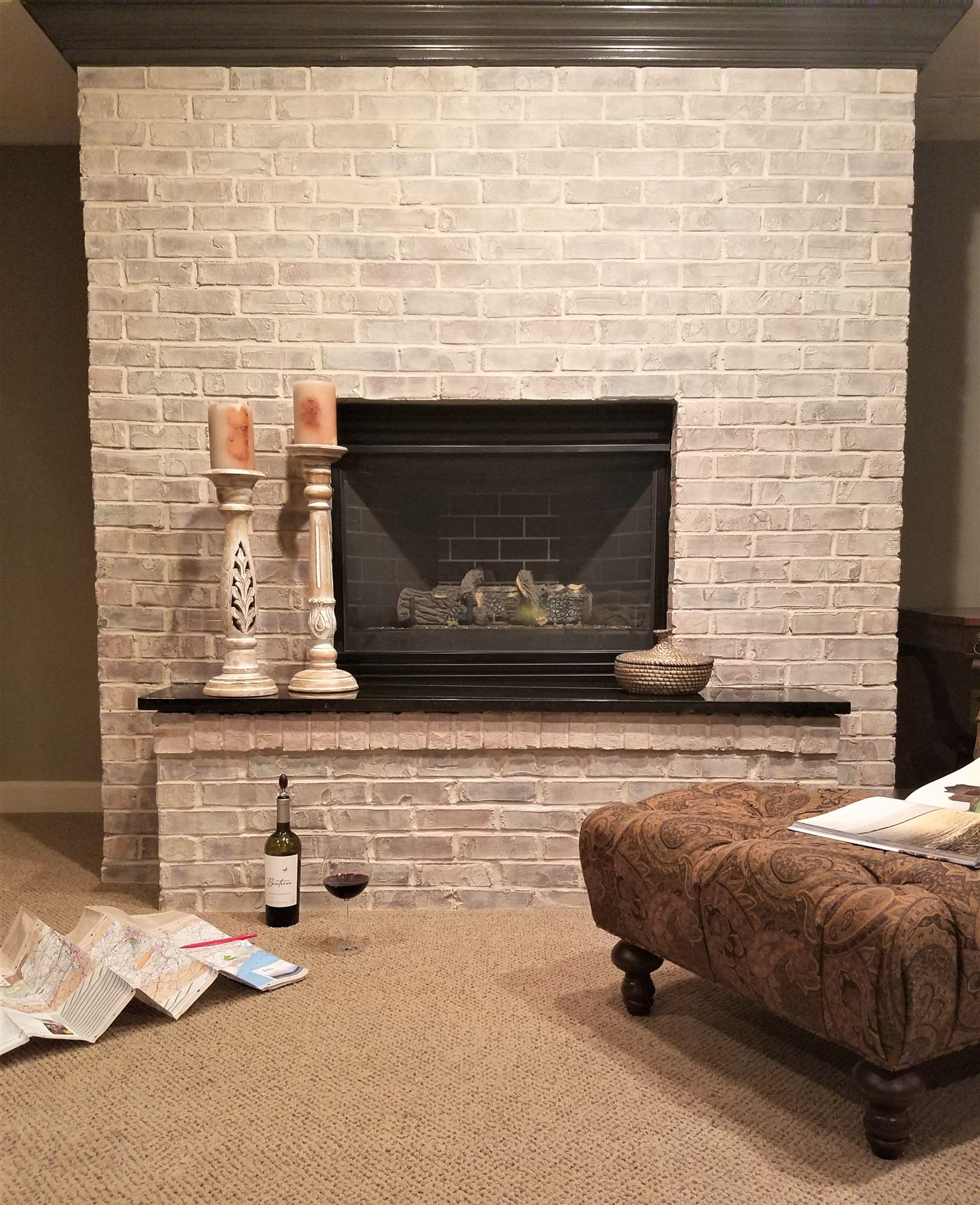 How to Whitewash a Brick or Stone Fireplace Brick, Decor