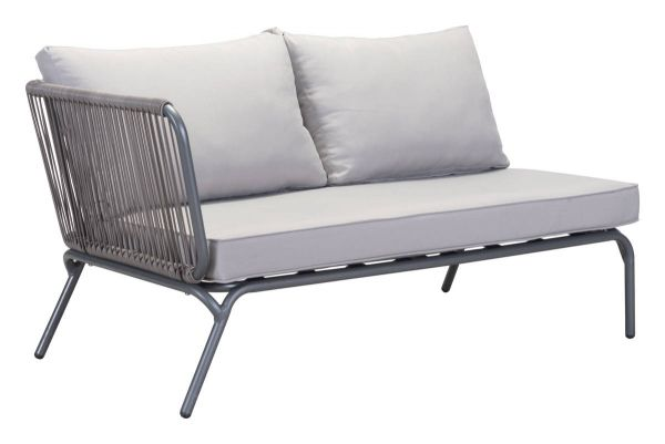 outdoor sectional metal. Brika Home Outdoor Sectional Left Loveseat In Gray Metal P