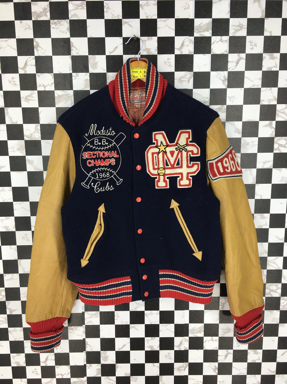 Style Eyes Toyo Japan Leather Jacket Small Mens Vintage 1980s Stadium Bomber Jacket Wool Baseball Varsity Jacket Size S Varsity Jacket Baseball Varsity Jacket Varsity Jacket Outfit