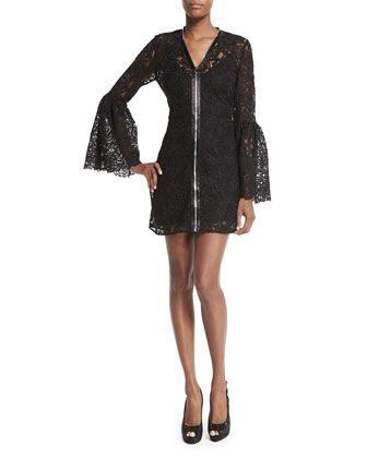 Long-Sleeve Lace Zip-Front Mini Dress, Black by McQ Alexander McQueen at