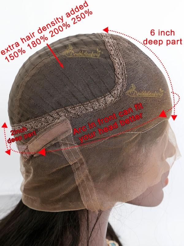 Doubleleawig Light Yaki Brazilian Virgin Human Hair Pre-plucked 6 Deep Part 360 Lace Wigs D57 #lacewigs