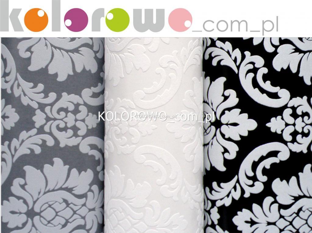 Tapety Ornament Styl Glamour Biała Szara Czarna