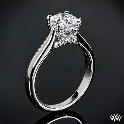 """X-Prong Surprise"" Solitaire Engagement Ring holds 40 Round Brilliant Diamond Melee"