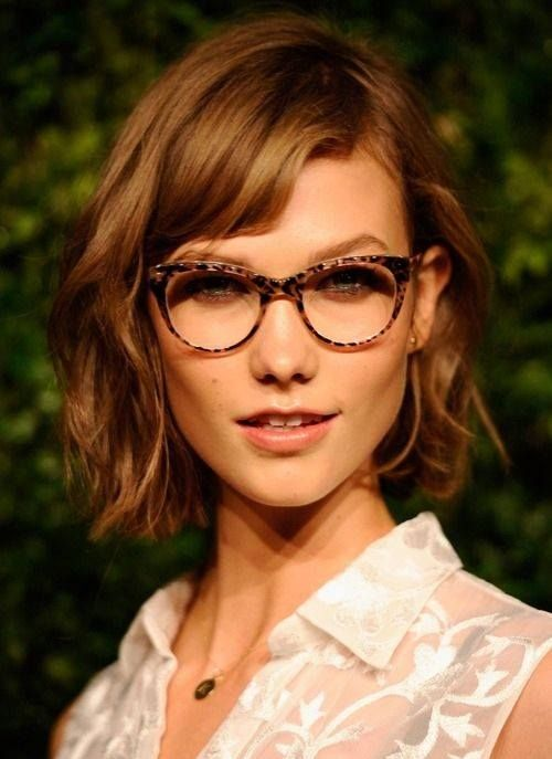 tousled bob + specs | Karlie Kloss