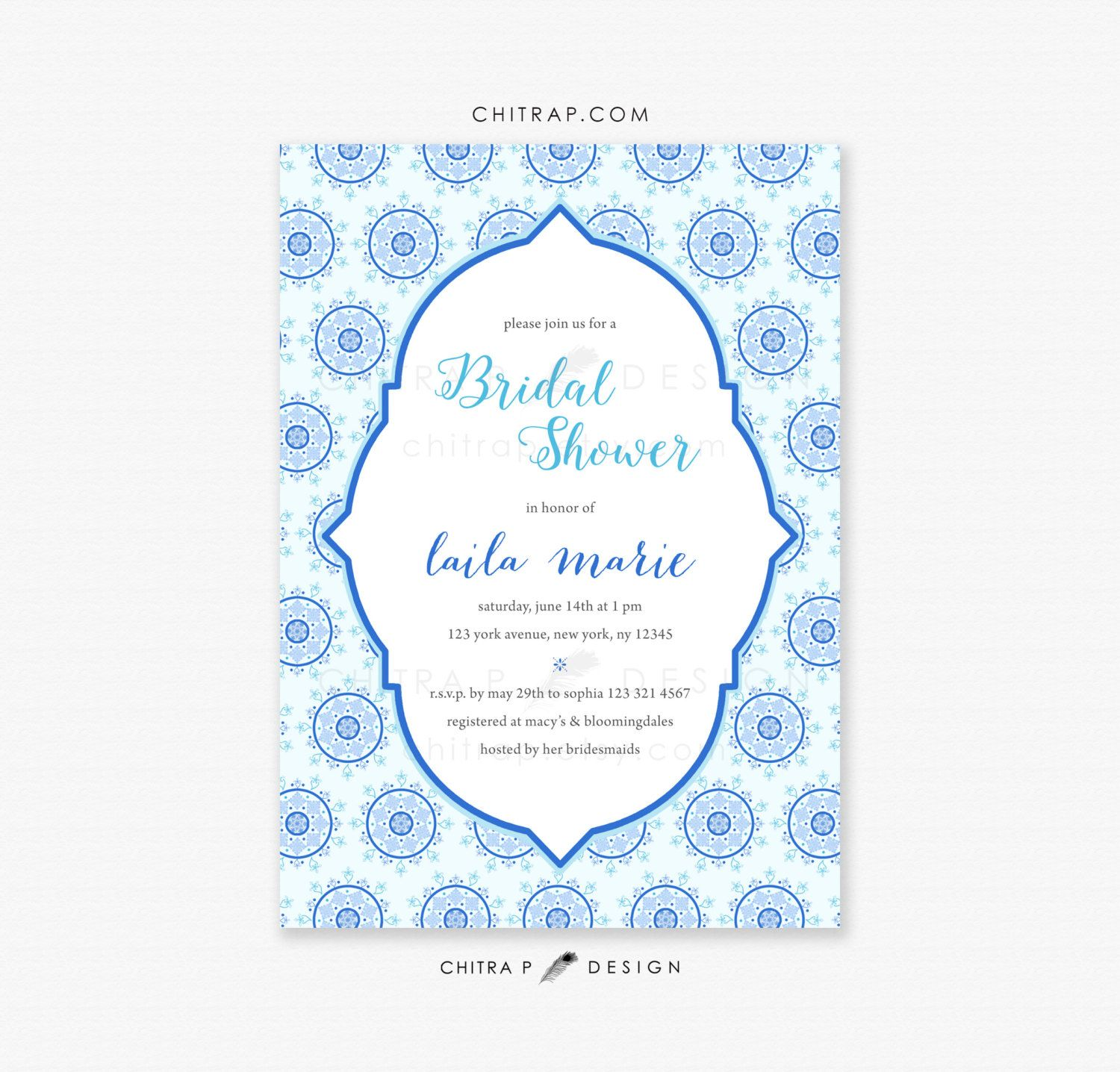 Items Similar To Blue White Bridal Shower Invitations Printed Or Printable Indian Engage Bridal Shower Invitations White Bridal Shower Invitation Printing
