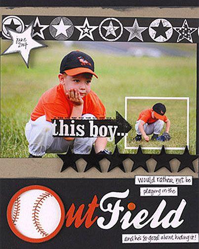 Sports Page Layout Kids Scrapbook Baseball Scrapbook Scrapbook Pages