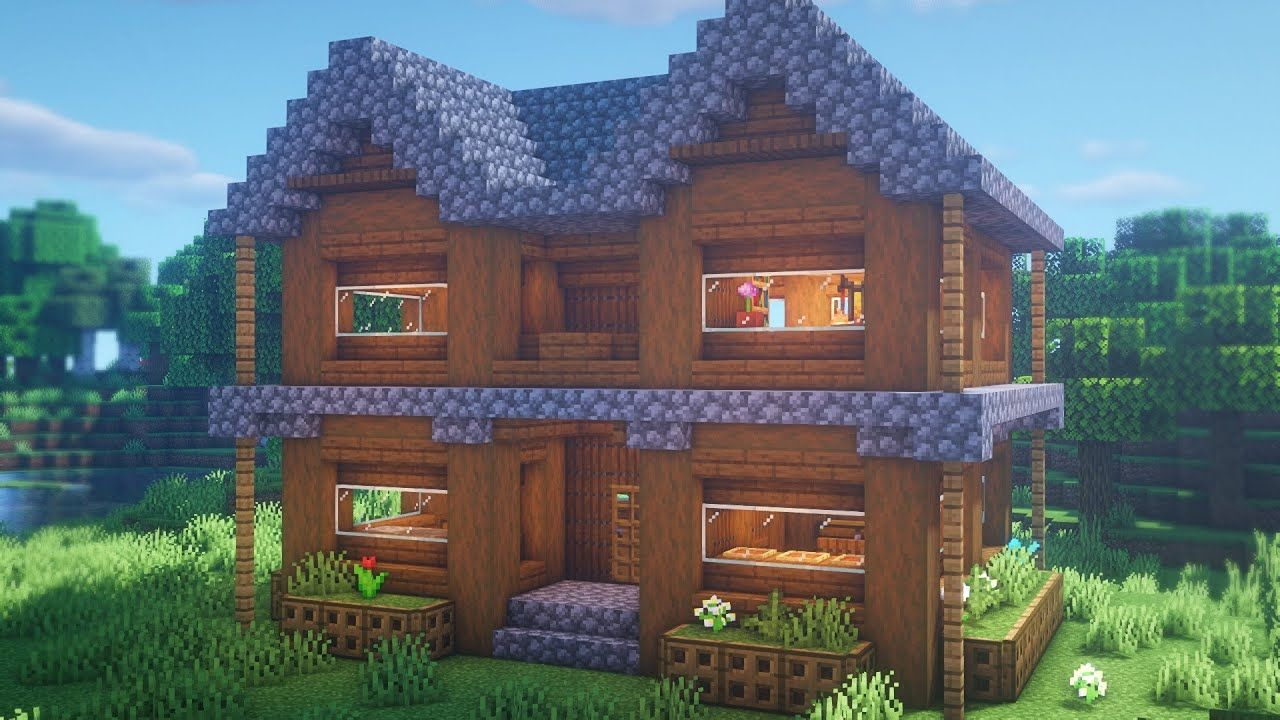 Minecraft How To Build A Spruce House Easy Survival Base Tutorial Minecraft Houses Survival Minecraft Starter House Easy Minecraft Houses