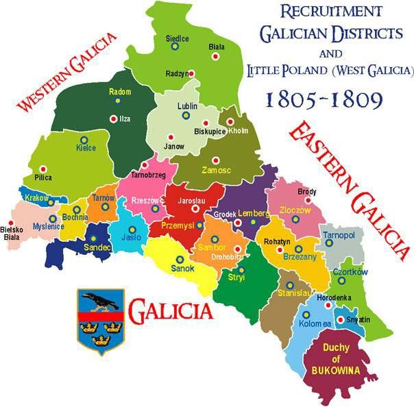 map of galicia austria 1900 Poland 1805 1809 Imperial Austrian Army Infantry Recruitment map of galicia austria 1900