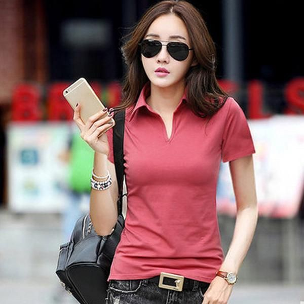 9eb5b4a70d7f5 HASKARA Summer Polo Shirt Women 2017 New Short Sleeve Solid Slim Polos  Mujer Shirts Tops Fashion Plus Size Polo Femme 6 Color s