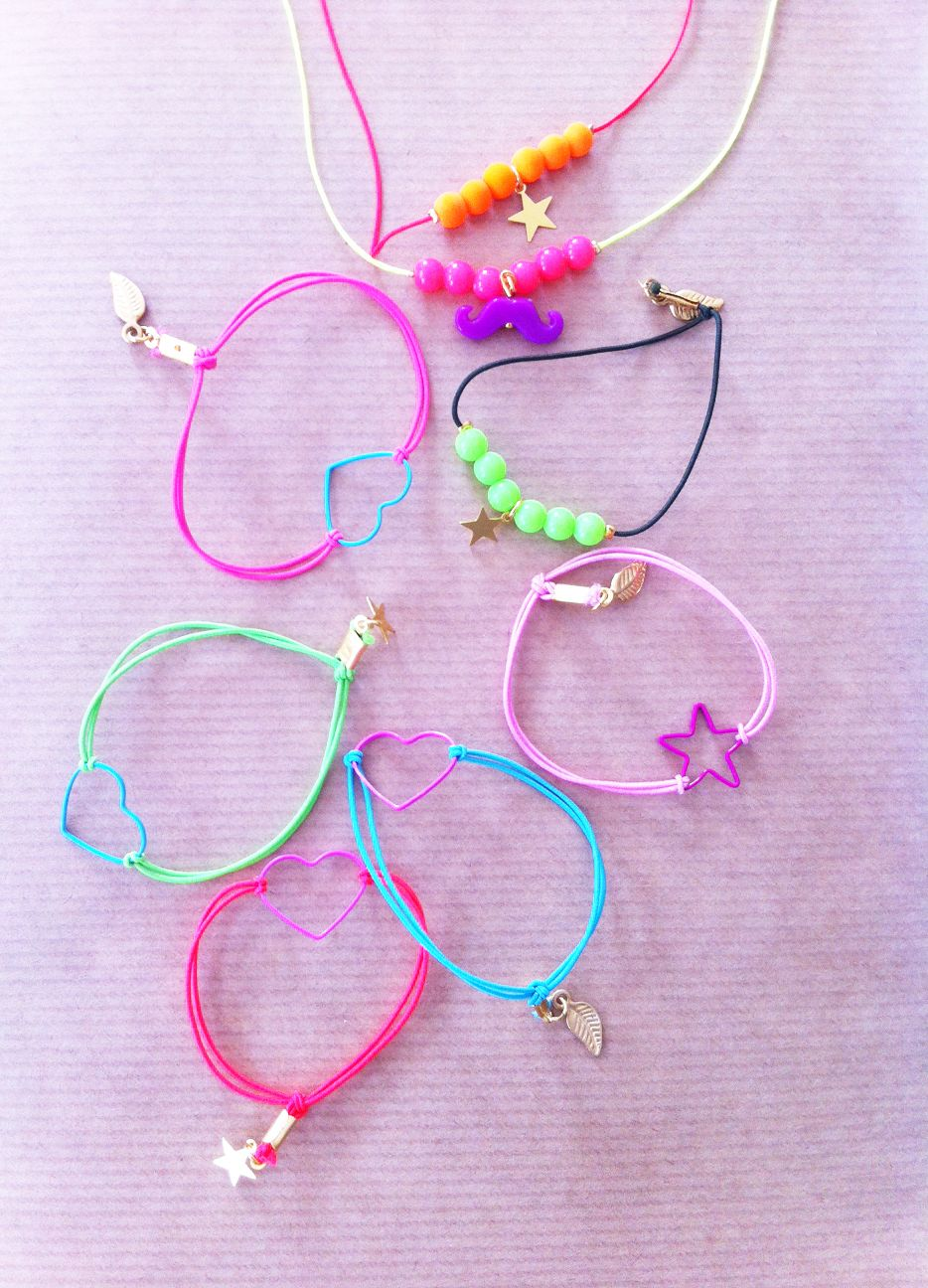 Beautiful NEON colors! Bracelets and necklaces for kids from JOYLI, @ www.rarebird.nl