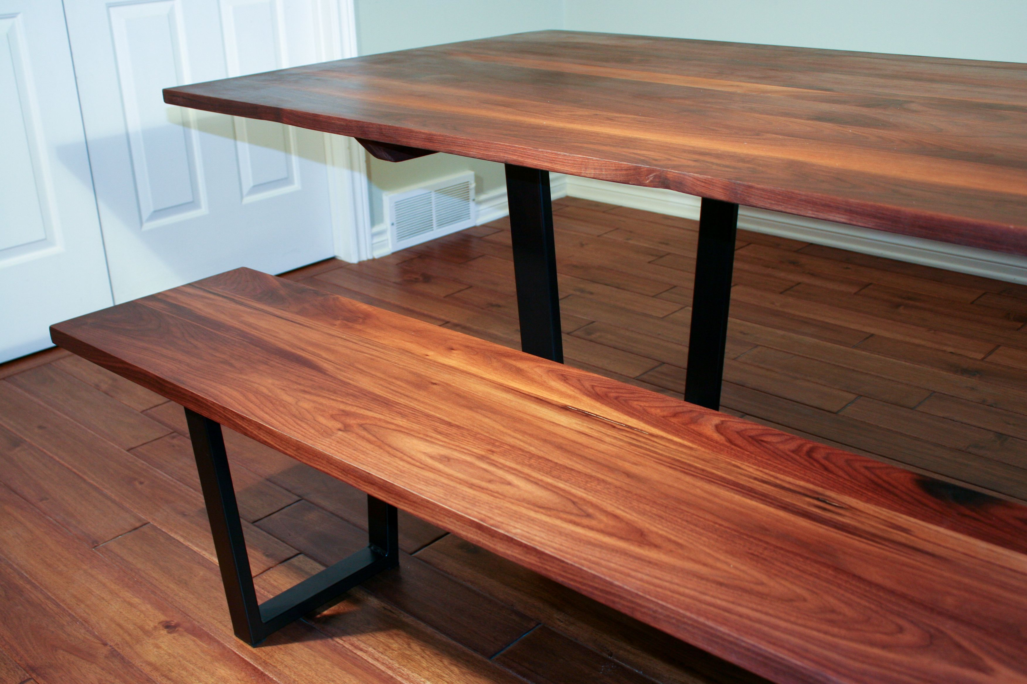 Fabulous Walnut Dining Table And Dining Bench Set On Steel Legs Caraccident5 Cool Chair Designs And Ideas Caraccident5Info