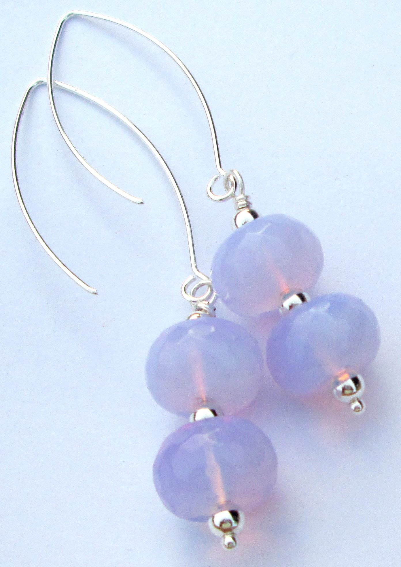 Excited To Share The Latest Addition My Etsy Opalite Pierced Earrings Faceted Plump Double Donut Dangle Hand Made