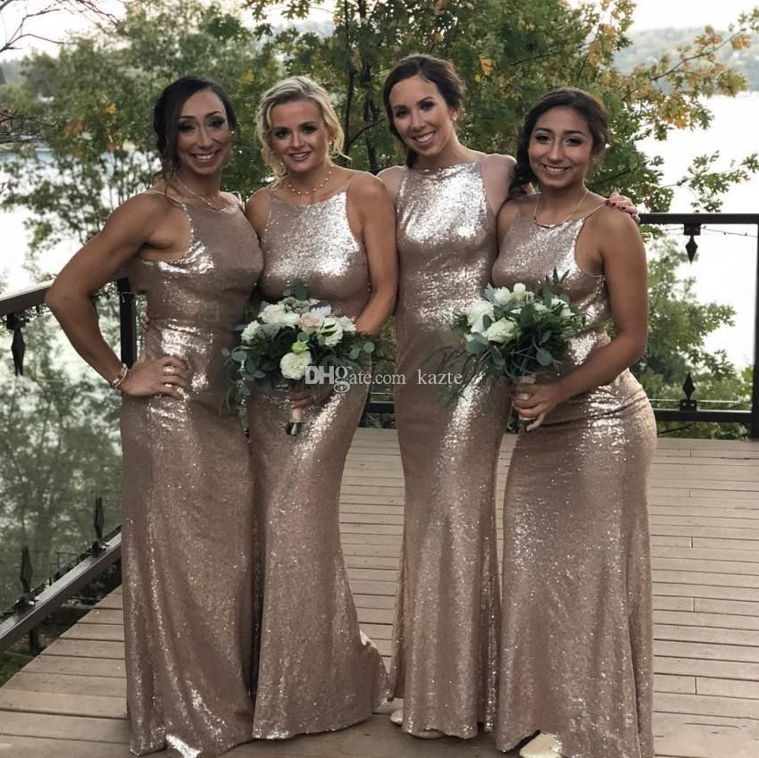 80bed4fd8ae Long Sequins Country Bridesmaid Dresses 2019 Vintage Jewel Neck Luxury  Champagne Bohemian Junior Maid of Honor