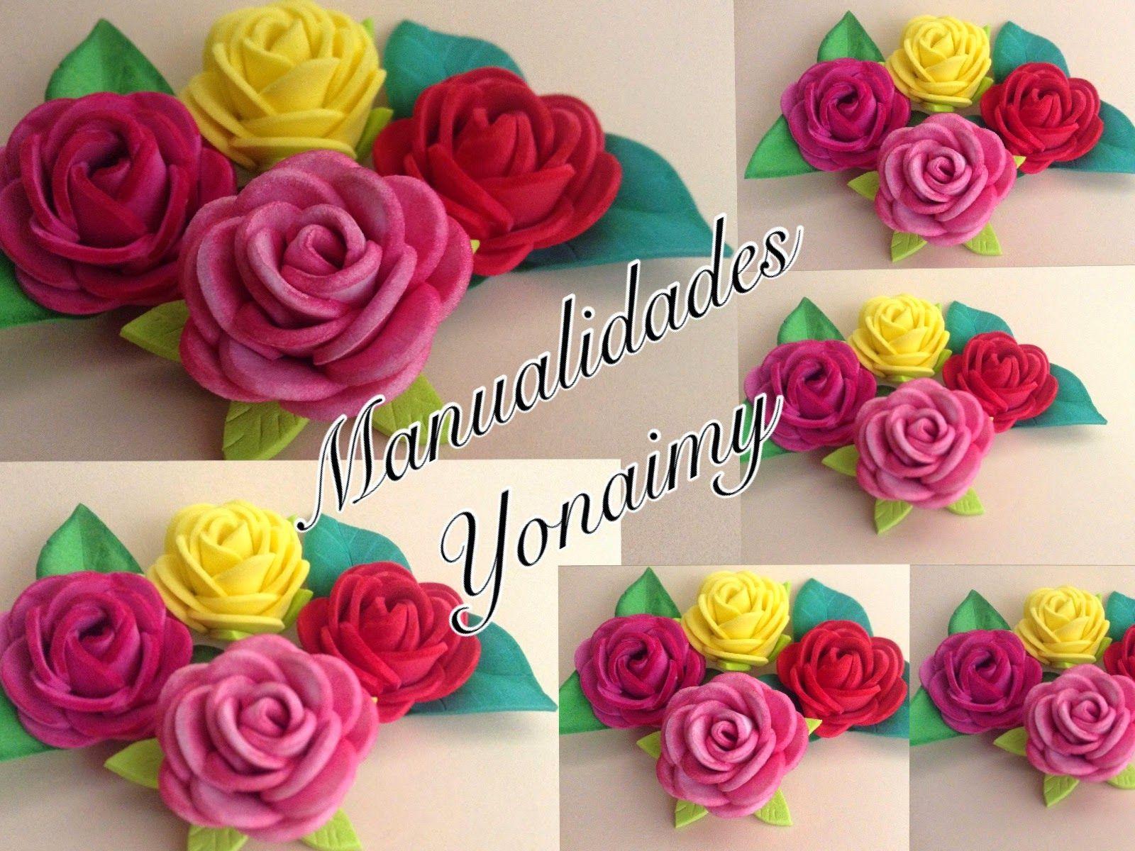 Manualidades yonaimy rosas peque as de foamy o goma eva - Flore de goma eva ...