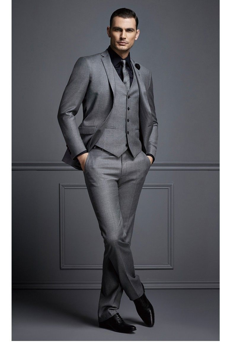 65966505336 2017 Latest Coat Pant Design Smoking Grey Men Suit Slim Fit Skinny 3 Piece  Custom Blazer Suits Groom Prom Tuxedo Terno Masculino  Menssuits