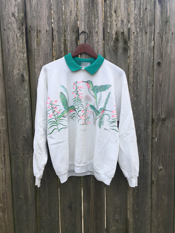 Vintage 90 S Lee Cotton Blend Hummingbirds And Flower Etsy Sweatshirts Collared Sweatshirt Cotton Blend [ 3000 x 2250 Pixel ]