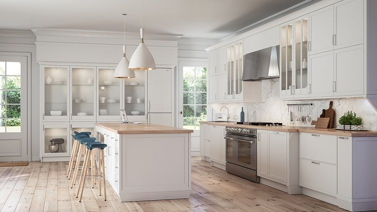 Cocinas Blancas Modernas Con Detalles En Madera Cocinas Modernas