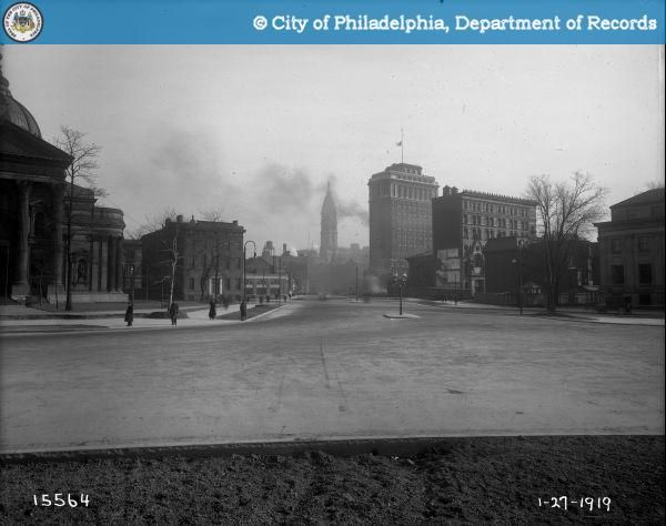 Parkway Looking East from Logan Square to City Hall - 1919