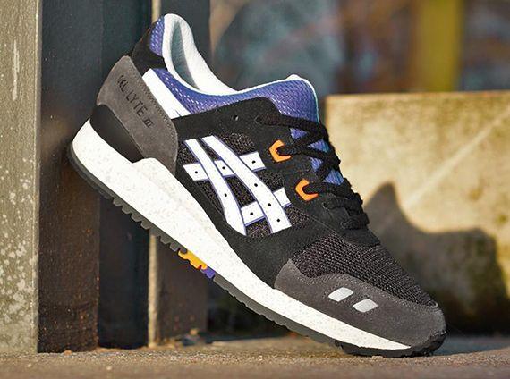 asics gel lyte iii shoes black grey yellow