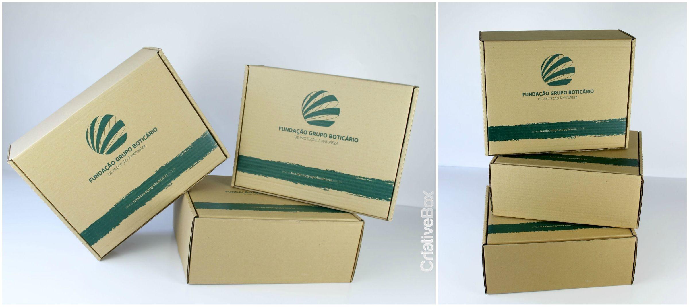 Embalagem Fundação Grupo Boticário - Em papelão ondulado,  com personalização em serigrafia. #Criativebox  #Embalagem #GrupoBoticario #Caixapersonlizada