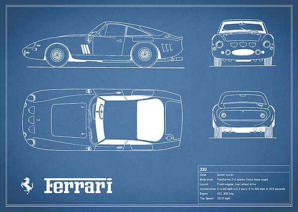 Ferrari 330 blueprint art print by mark rogan de autos y planos ferrari 330 blueprint art print by mark rogan malvernweather Gallery