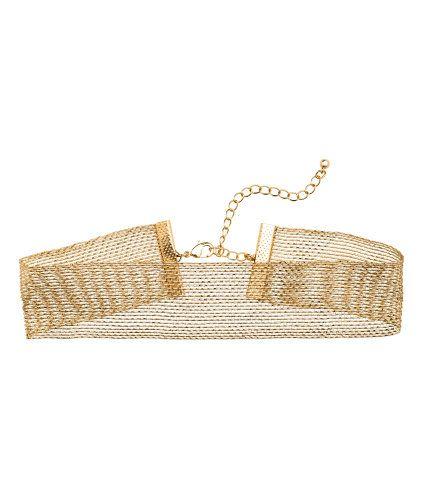 Guld. Kort, bredt halsbånd af net med indvævet metaltråd. Justerbar længde 30-37 cm.  From H&M.com