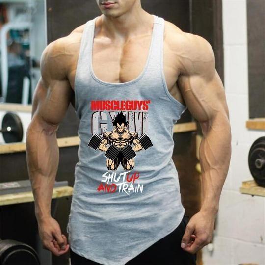 Dragon Ball Tank Top Men Bodybuilding Fitness Clothing Super Saiyan Print Cottonheavengifs