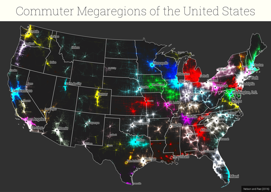 Map of US Megaregions Based on Commuting