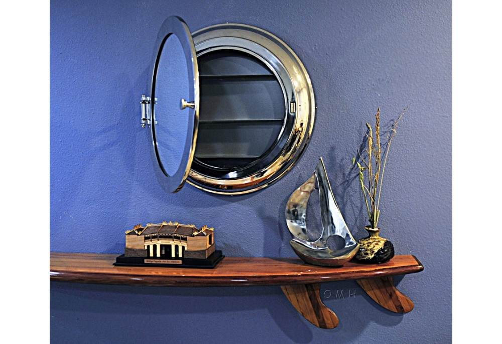 Authentic Brass Porthole Wall Mirror with Storage Nautical Wall
