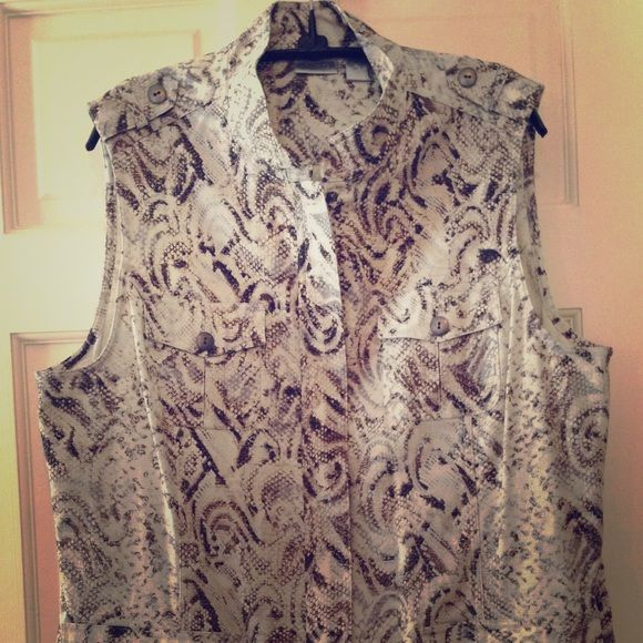 NWT Chico's snake vest size 3 NWT Chico's snake print zip up vest size 3. So cute!! Chico's Tops