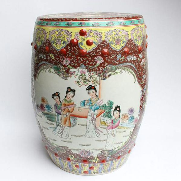 Rzah02 Famille Rose Chinese Porcelain Garden Seat Stool