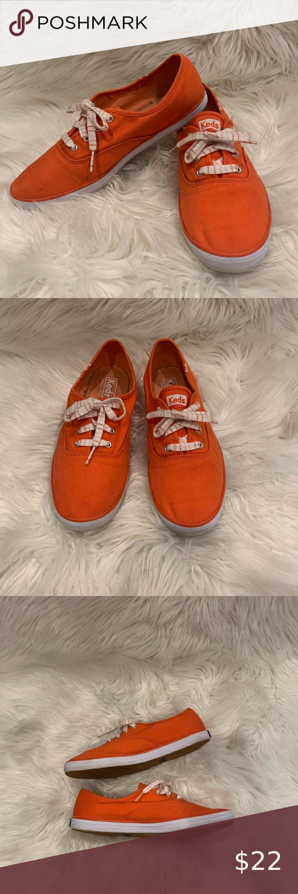 Keds Orange Canvas Sneakers Lace Up