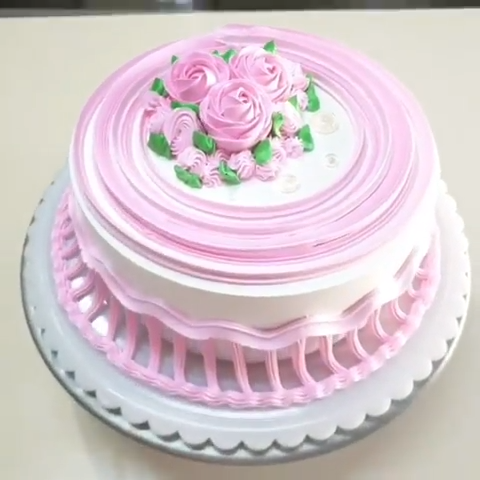 Pink and White Cake #cakedecoratingvideos