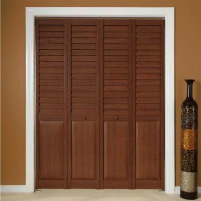 Louver Panel Dark Teak Composite Interior Bi Fold Closet Door At The Home Depot