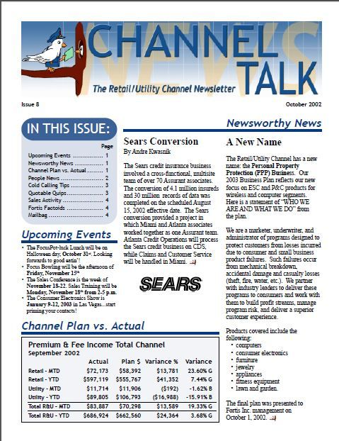 Internal Corporate Newsletter  Hampton Marketing Samples