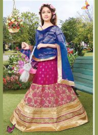 Divine Magenta and Cobalt blue Kids Lahenga Choli  #Wholesale #Lengha #Choli #Online #Shopping