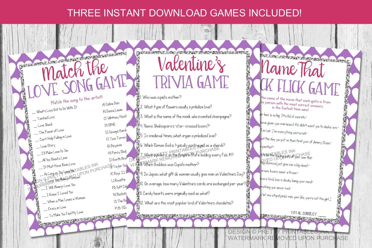 Printable Valentine S Party Games Valentine S Day Games Galentine S Day Party Games Valentine S Trivia Game Love Song Game Valentine Party Game Valentines Party Valentines Games
