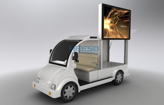 HOLOTEQ Yes-M5 advertising vehicles adopts a chassis on 4 wheels scooter configured with P4 high definition LED screen, flexible to move and make full scale display as well as extremely high value for money. Three sides can be LED screens as customer's requirements. For more information of this great invention for Business enhancement, kindly email us at info@holoteqatar.com
