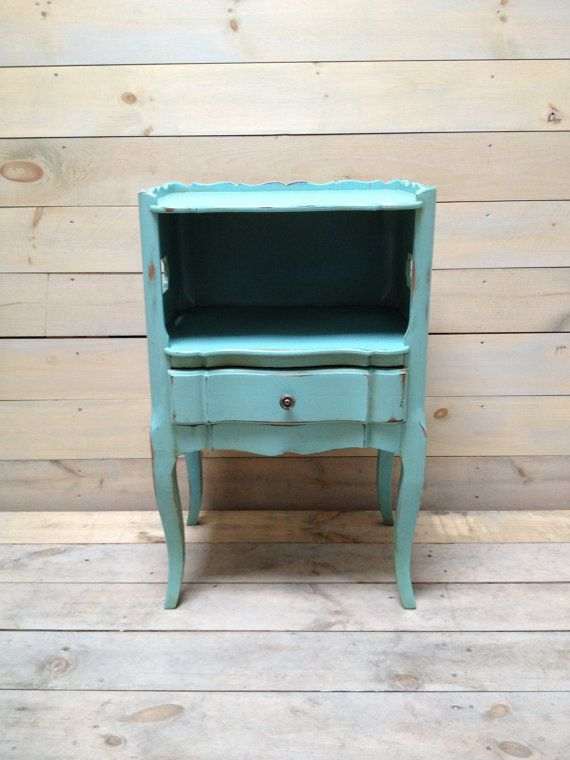 Antique Light Blue Nightstand With Shelf And Drawer By Chezboheme 325 00 Blue Nightstands Antique Lighting Nightstand