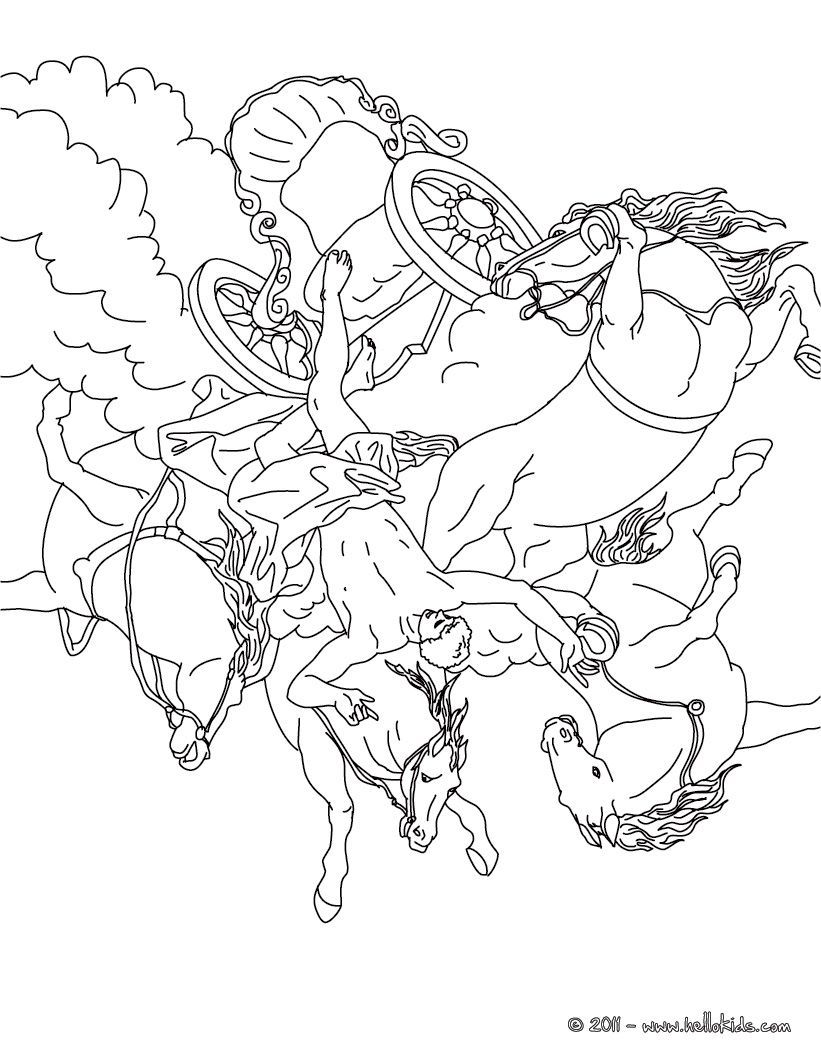 Greek Myth Coloring Pages Greek Mythology Sun Coloring Greek