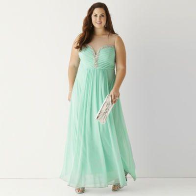 City Triangles® Illusion Embellished V-Neck Long Slim Dress ...