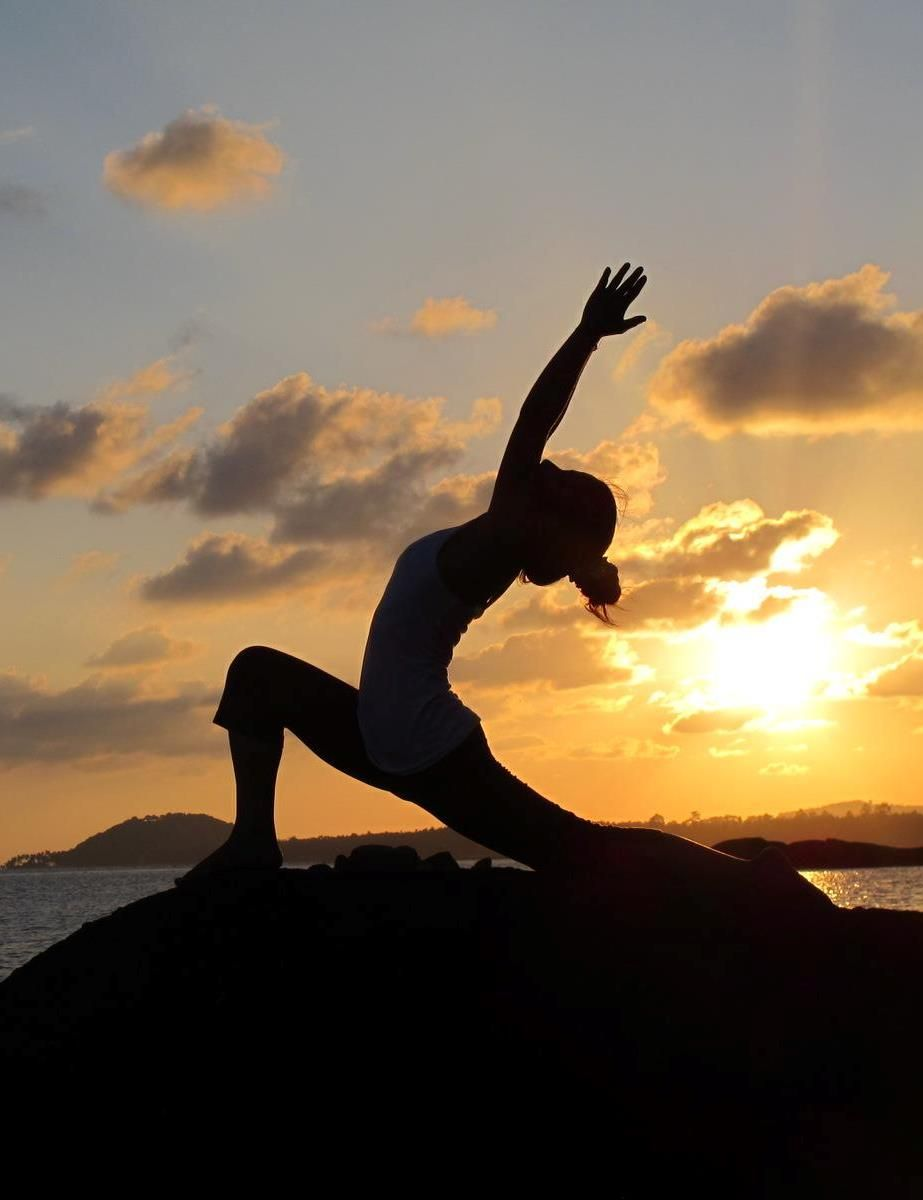 What could be better than sunset yoga on the beach-front ...