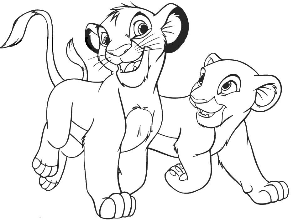 Disney Simba Nala Coloring Page Lion Coloring Pages Lion