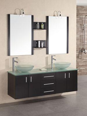 """61"""" Portland Double Vessel Sink Vanity - Glass Top ..."""