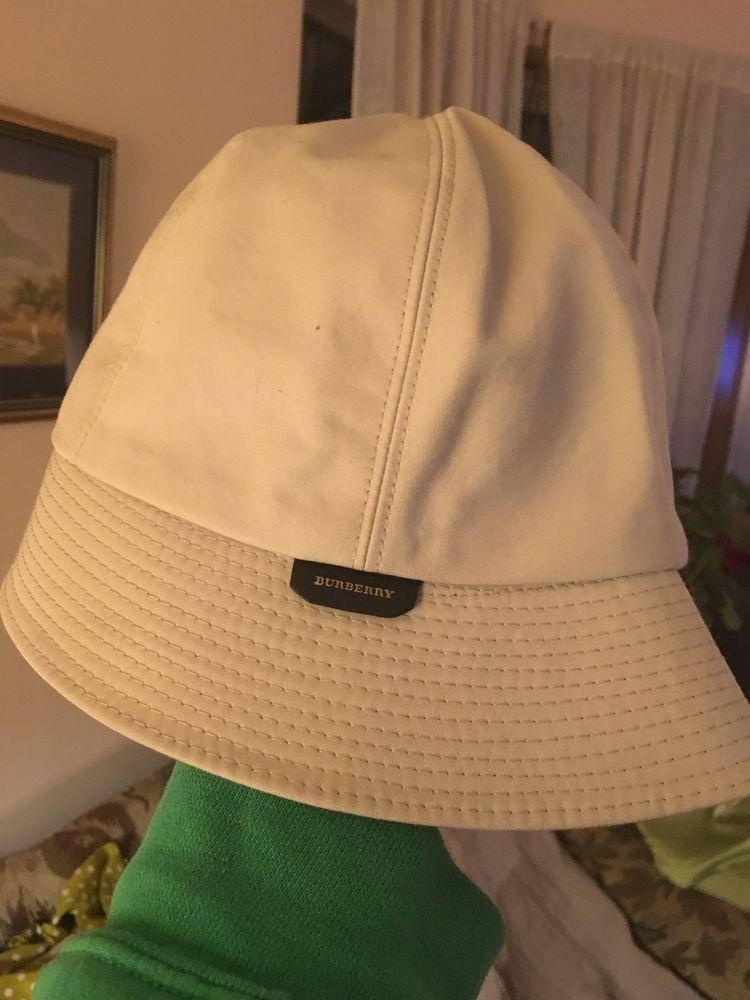 BURBERRY Gabrielle Beige Gaberdine Cotton Logo Bucket Rain Hat ~ L  Burberry e985026a69