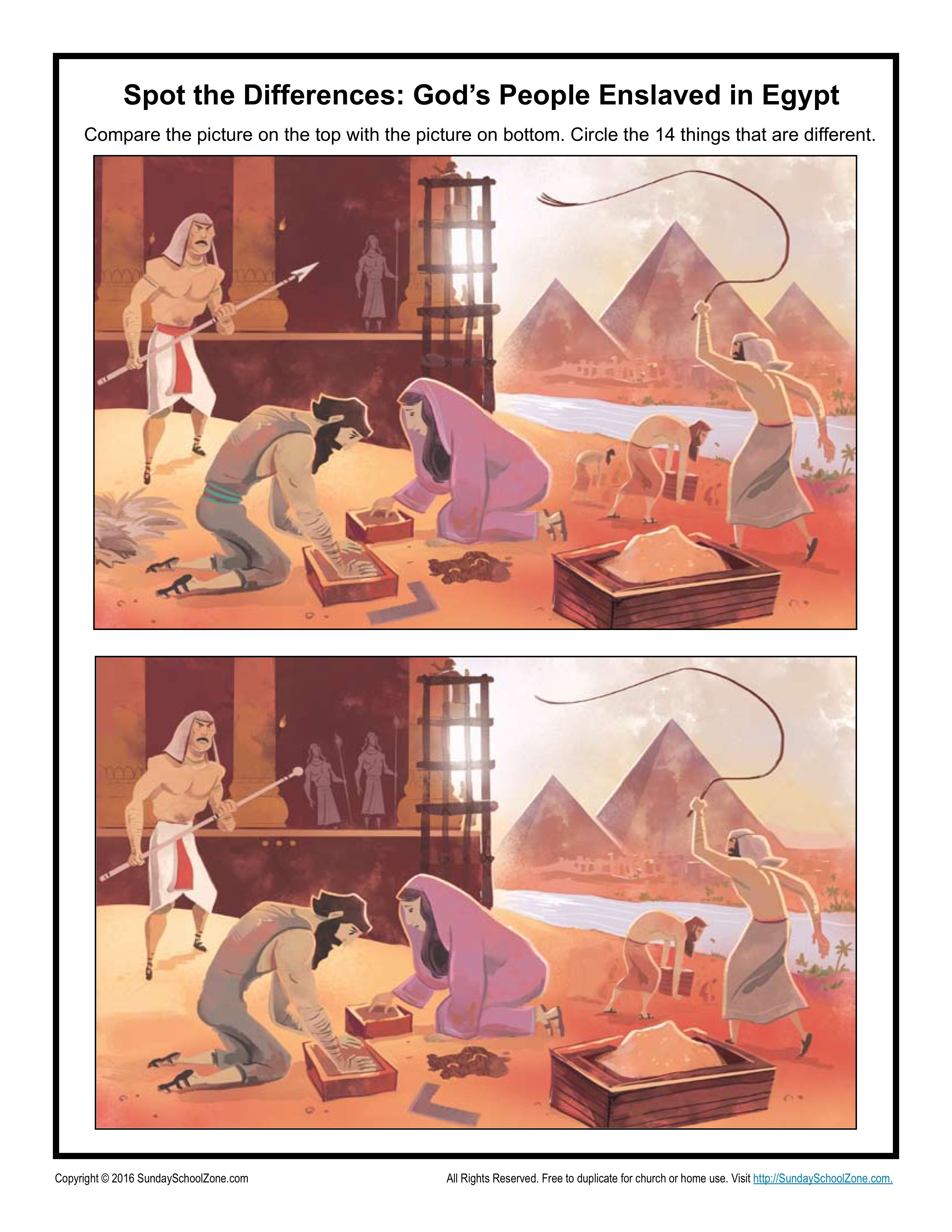 God's People Enslaved in Egypt Spot the Differences | God's