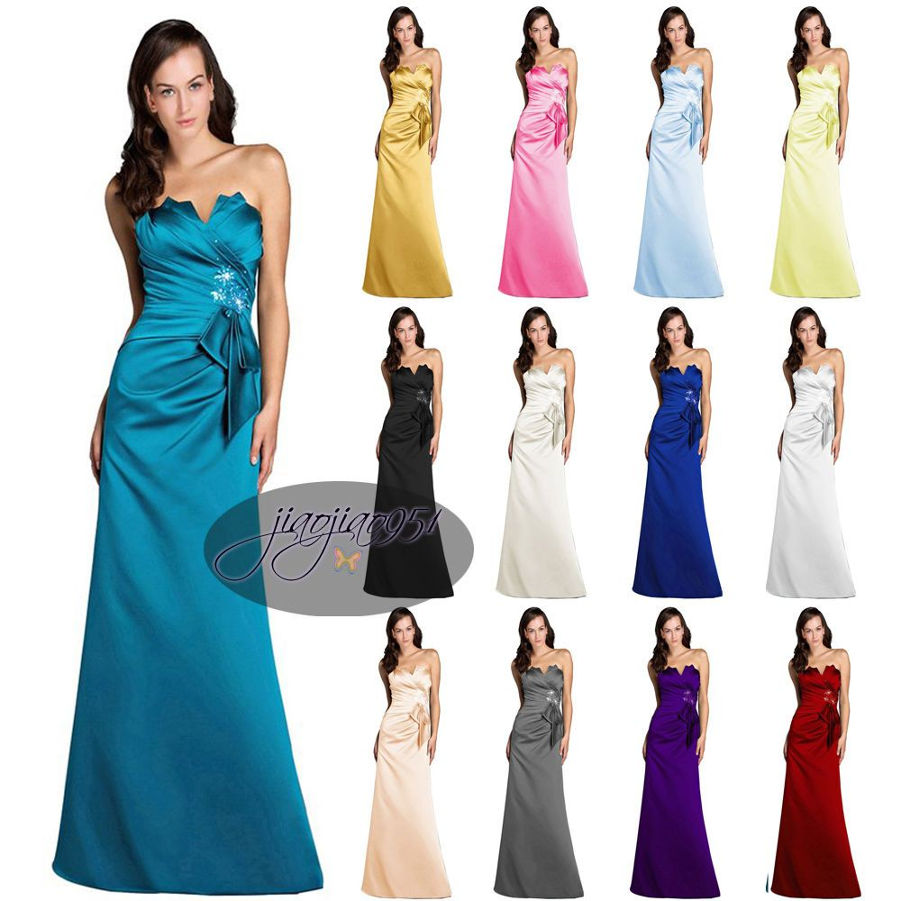 Hot stock satin formal prom party ball gown long evening hot stock satin formal prom party ball gown long evening bridesmaid dress 6 20 ombrellifo Images