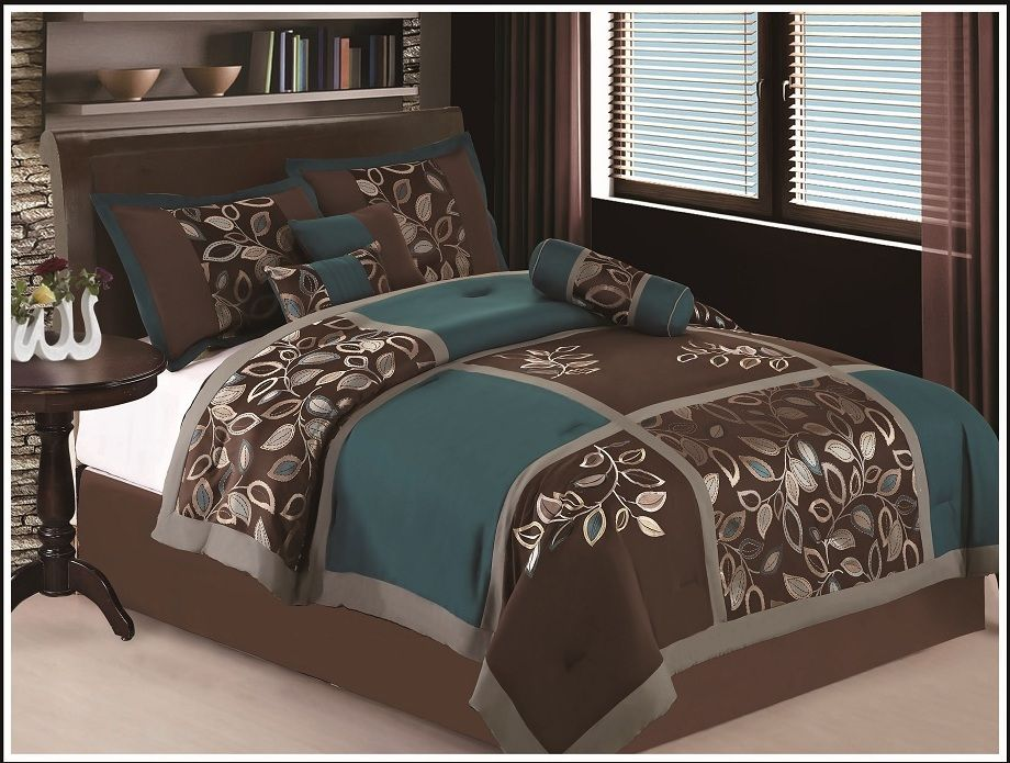 7 Pc Full Size Esca Bedding Teal Blue Brown Comforter Set Bed In
